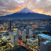 surreal view of Yokohama and Mt. Fuji retouch from 3 photo