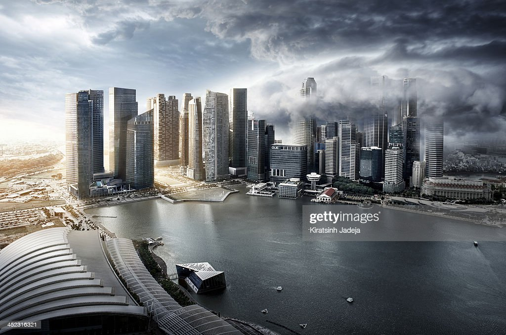 Surreal And Atmospheric Aerial View Of Singapore : Stock Photo