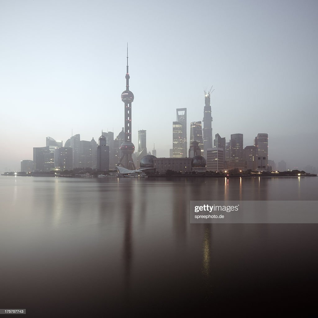 Surreal Cityscape of Pudong Shanghai : Stock Photo