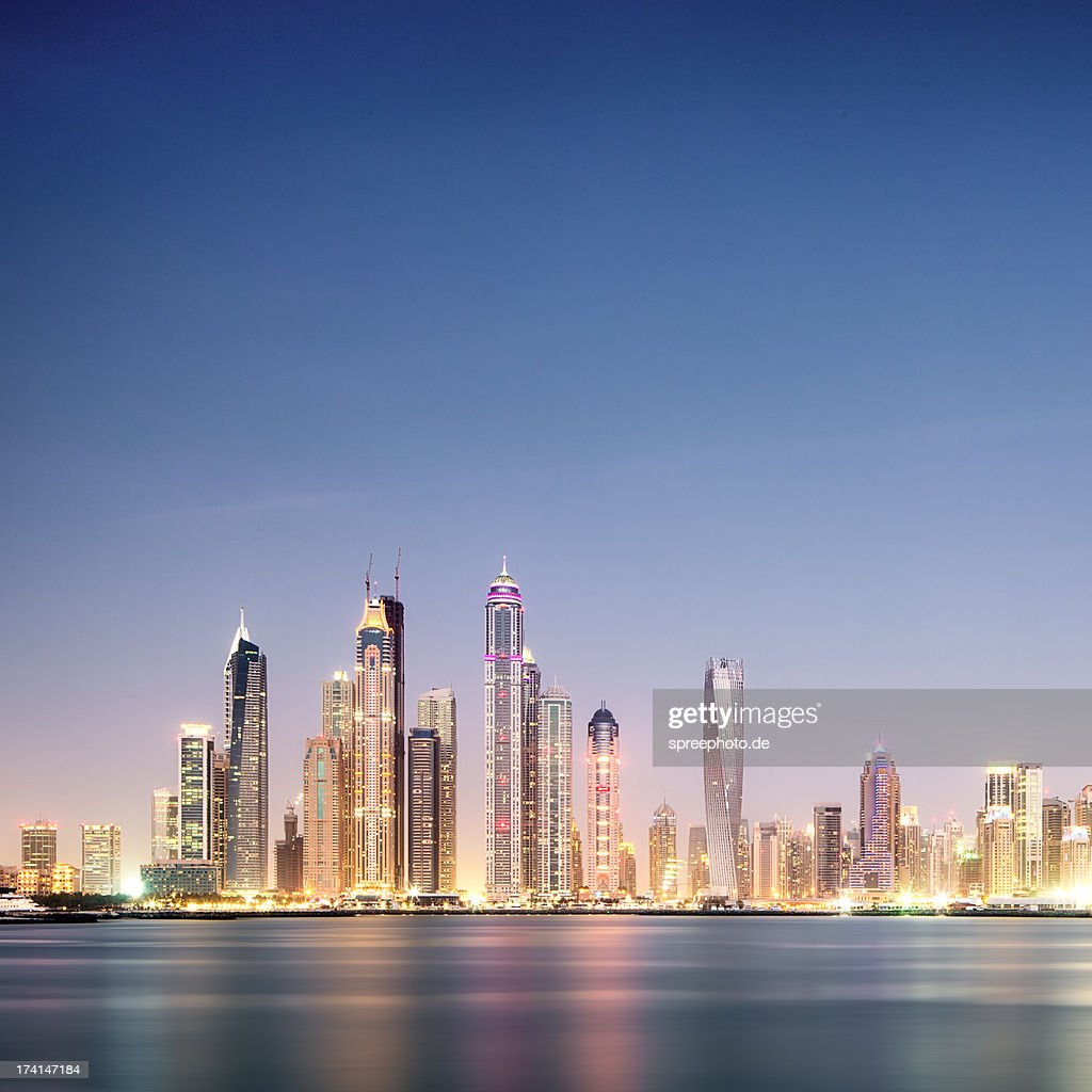 Surreal Dubai marina skyline