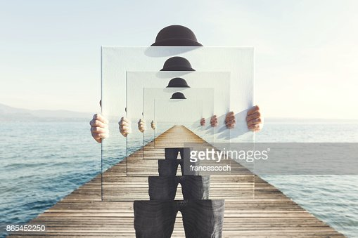 surreal enigmatic picture on canvas : Stock Photo