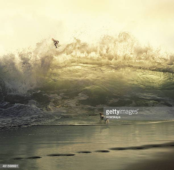 surreal giant wave with surfer