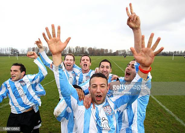 Surreal Madrid A celebrate winning the division one league title at Hackney Marshes on March 18 2012 in London England Hackney Marshes in east London...