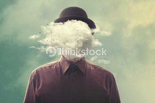 surreal man head in the cloud : Foto de stock