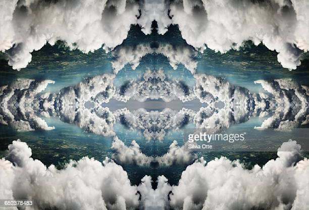 Surreal rorschach collage of dramatic clouds