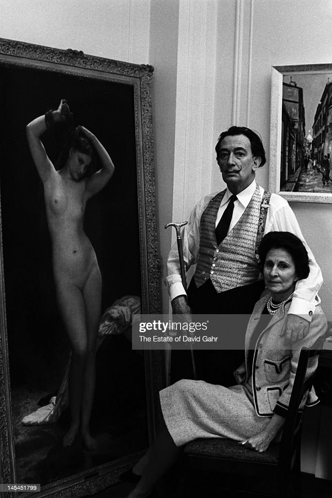 Surrealist artist <a gi-track='captionPersonalityLinkClicked' href=/galleries/search?phrase=Salvador+Dali&family=editorial&specificpeople=94477 ng-click='$event.stopPropagation()'>Salvador Dali</a> and his wife, Gala Dali pose for a portrait in February 1962 at the St. Regis Hotel in New York City, New York.