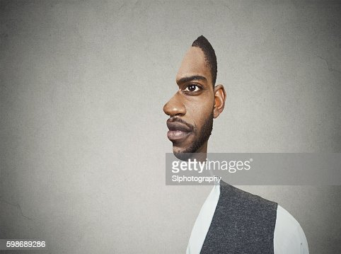 surrealistic portrait front with cut out profile of man : Stock Photo