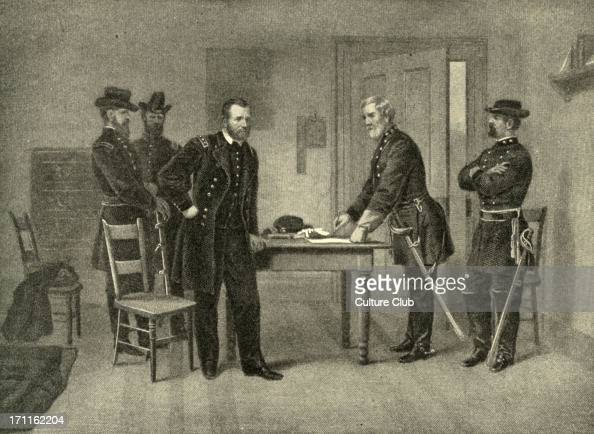 Surrender at Appomattox Courthouse General Robert E Lee's surrender of the Army of Northern Virginia to General Grant at Appomattox Courthouse 9...