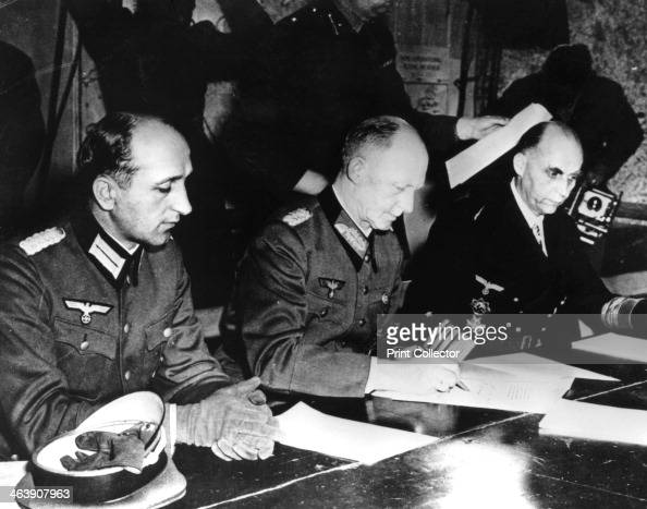 Surrender of Nazi Germany Reims France 7 May 1945 General Alfred Jodl the German Chief of Staff signing the document confirming Germany's...
