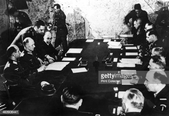 Surrender of Nazi Germany Reims France 7 May 1945 General Alfred Jodl the German Chief of Staff being presented with the document confirming...