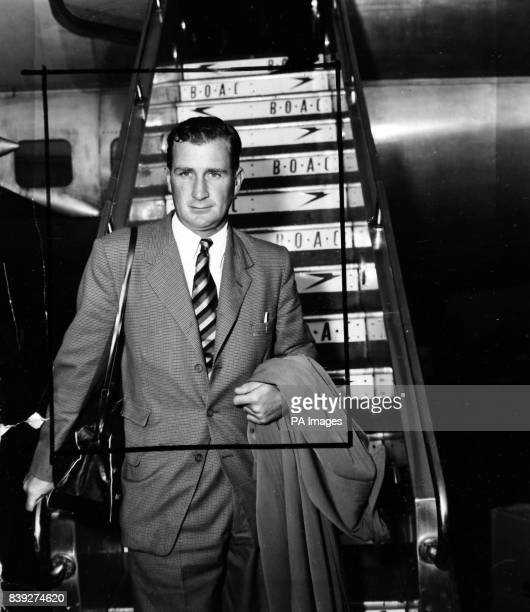 Surrey and England bowler Jim Laker pictured at London Airport on April 8th 1954 his return home after the MCC cricket tour of the West Indies Laker...