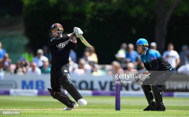 Surrey batsman Jason Roy hits out during the Royal London OneDay Cup Semi Final between Worcestershire and Surrey at New Road on June 17 2017 in...