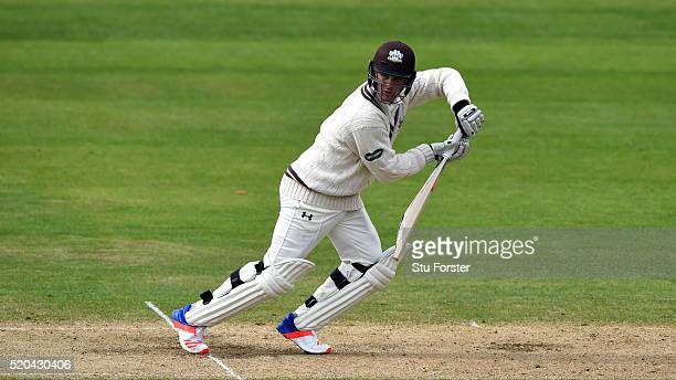 Surrey batsman Jason Roy picks up some runs during Day two of the Specsavers County Championship Division One match between Nottinghamshire and...