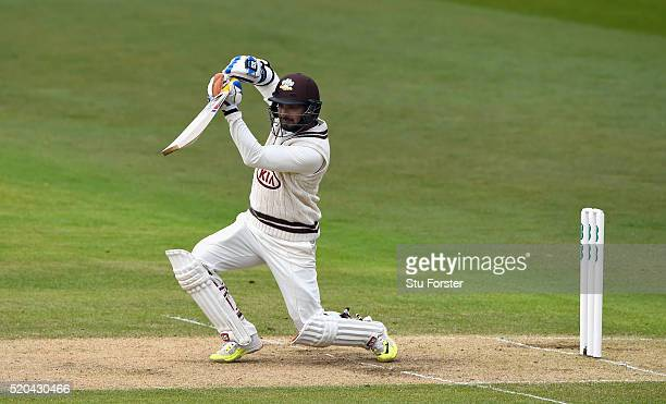 Surrey batsman Kumar Sangakkara cover drives during Day two of the Specsavers County Championship Division One match between Nottinghamshire and...