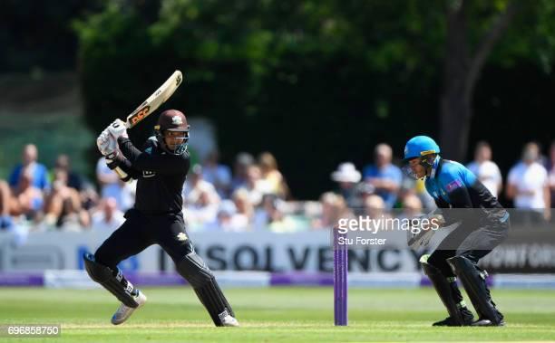 Surrey batsman Kumar Sangakkara hits out during the Royal London OneDay Cup Semi Final between Worcestershire and Surrey at New Road on June 17 2017...