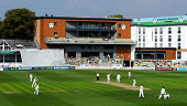 Surrey batsman Rory Burns is dismissed by Mitchell McClenaghan during day two of the LV= County Championship Division Two match between...
