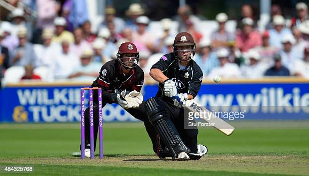 Surrey batsman Rory Burns picks up some runs despite the attentions of Alex Barrow during the Royal London OneDay Cup match between Somerset and...