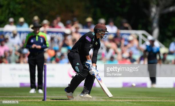 Surrey batsman Sam Curran preapres to play the scoop shot during the Royal London OneDay Cup Semi Final between Worcestershire and Surrey at New Road...