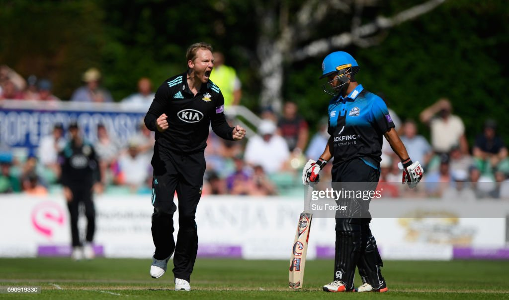 Surrey bowler Gareth Batty celebrates after dismissing John Hastings (not pictured) during the Royal London One-Day Cup Semi Final between Worcestershire and Surrey at New Road on June 17, 2017 in Worcester, England.
