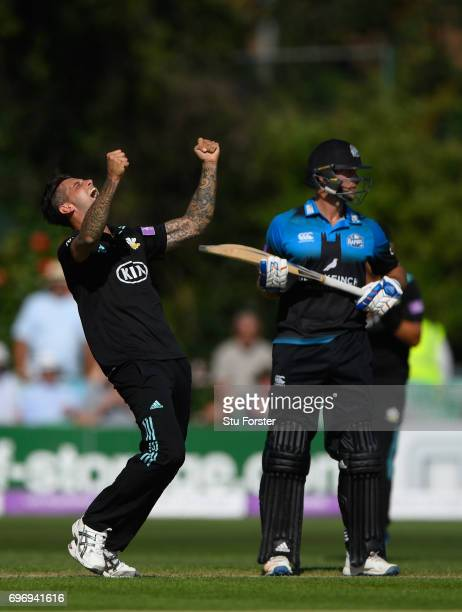 Surrey bowler Jade Dernbach celebrates after dismissing Ed Barnard during the Royal London OneDay Cup Semi Final between Worcestershire and Surrey at...