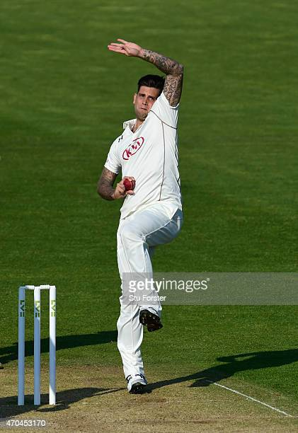 Surrey bowler Jade Dernbach in action during day two of the LV County Championships Division Two match between Glamorgan and Surrey at SWALEC Stadium...