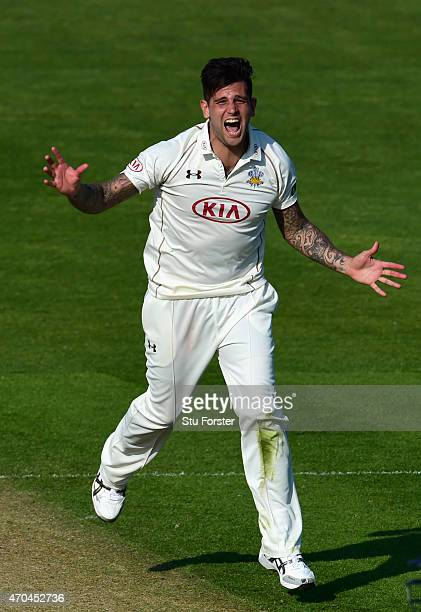 Surrey bowler Jade Dernbach reacts during day two of the LV County Championships Division Two match between Glamorgan and Surrey at SWALEC Stadium on...