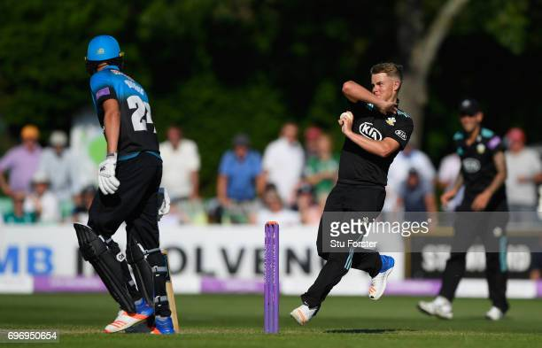 Surrey bowler Sam Curran in action during the Royal London OneDay Cup Semi Final between Worcestershire and Surrey at New Road on June 17 2017 in...