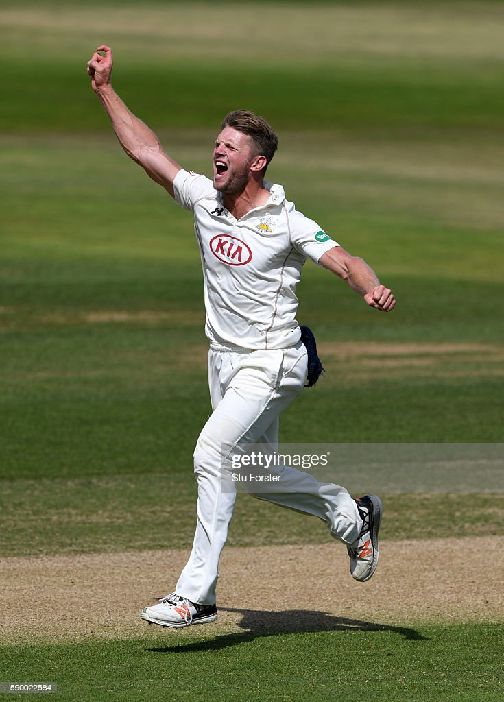 Surrey bowler Stuart Meaker celebrates after dismissing Warwickshire batsman Jonathan Trott for 9 runs during day 4 of the Specsavers Division One...