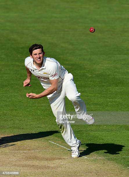 Surrey bowler Zafar Ansari in action during day three of the LV County Championships Division Two match between Glamorgan and Surrey at SWALEC...