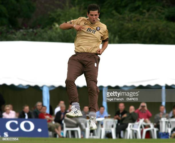 Surrey Brown Caps' Jade Dernbach celebrates after taking the wicket of Yorkshire Pheonix's Andrew Gale