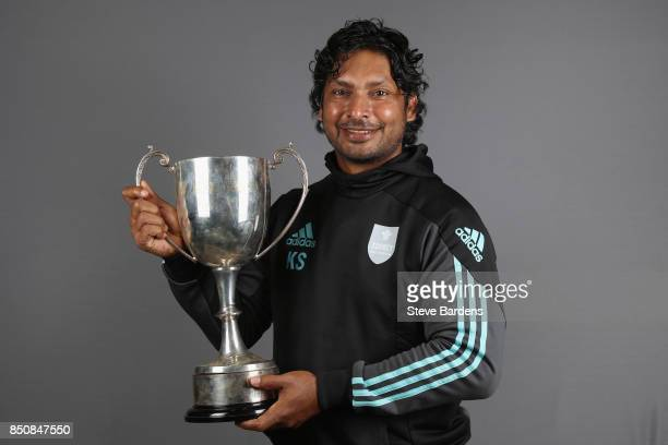 Surrey CCC Players Player of the Year award winner Kumar Sangakkara poses with his award during the Surrey CCC Season Awards at The Kia Oval on...