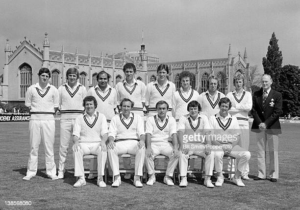 Surrey County Cricket team photographed prior to their County Championship match against Gloucestershire at Cheltenham 23rd July 1977 The match ended...