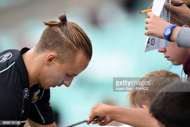 Surrey fans clammer to get autographs from Tom Curran