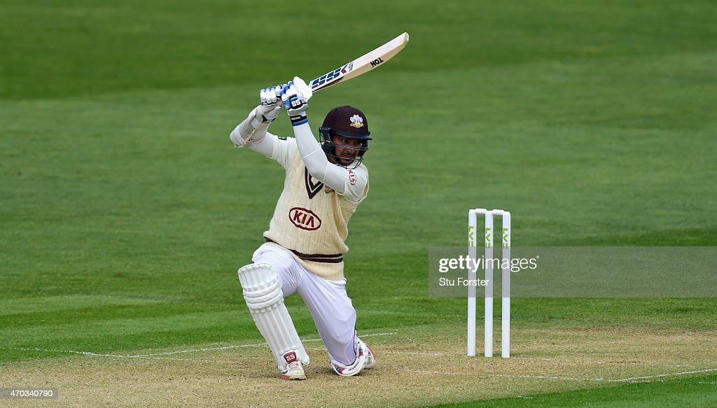 Surrey player <a gi-track='captionPersonalityLinkClicked' href=/galleries/search?phrase=Kumar+Sangakkara&family=editorial&specificpeople=206804 ng-click='$event.stopPropagation()'>Kumar Sangakkara</a> cover drives a ball to the boundary during day one of the LV County Championships Division Two match between Glamorgan and Surrey at SWALEC Stadium on April 19, 2015 in Cardiff, Wales.