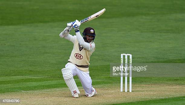 Surrey player Kumar Sangakkara cover drives a ball to the boundary during day one of the LV County Championships Division Two match between Glamorgan...