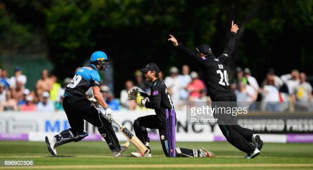 Surrey wicketkeeper Ben Foakes runs out Royals Worcestershire batsman Tom Fell during the Royal London OneDay Cup Semi Final between Worcestershire...