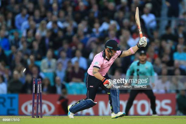 Surrey's and Middlesex's Brendon McCullum is bowled by Surrey's Ravi Rampaul