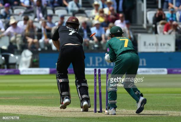 Surrey's Ben Foakes gets bowled out by Nottinghamshire's Steven Mullaney during the Royal London OneDay Final match between Nottinghamshire and...