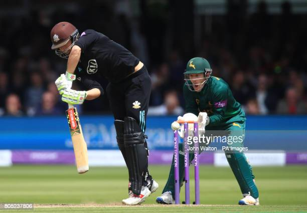 Surrey's Ben Foakes is bowled out by Nottinghamshire's Steven Mullaney during the One Day Cup Final at Lord's London