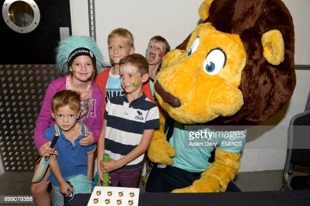 Surrey's club mascot Caesar the Lion poses for a photo during the Family Day