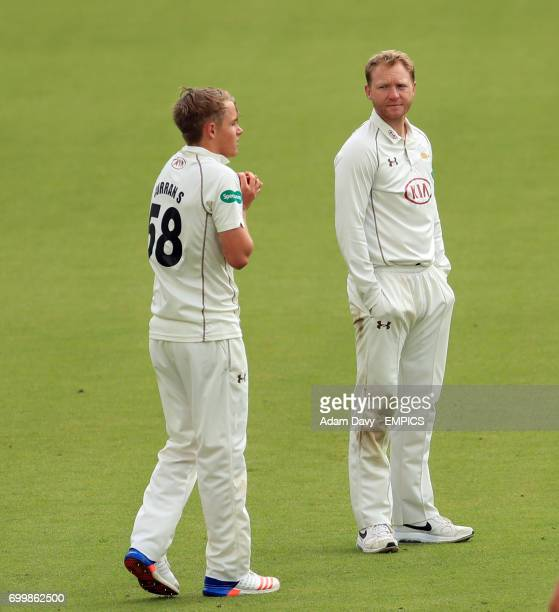 Surrey's Gareth Batty and Sam Curran during the match against Yorkshire