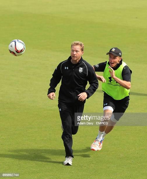 Surrey's Gareth Batty and Sam Curran during the warmup