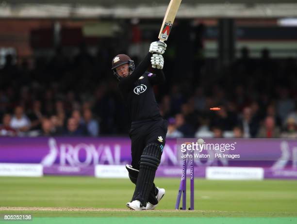 Surrey's Gareth Batty is bowled out by Nottinghamshire's Luke Fletcher during the One Day Cup Final at Lord's London