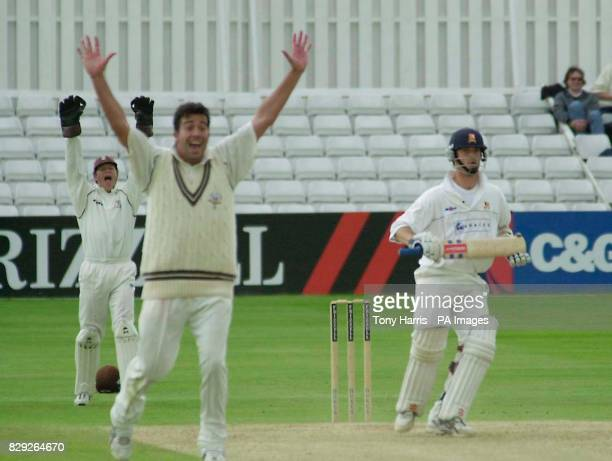 Surrey's James Ormond raises his arms as he captures the wicket of Essex and England wicket keeper James Foster LBW for 42 during the Frizell County...