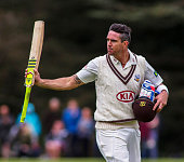 Surrey's Kevin Pietersen walks off after being dismissed during the Oxford University CC v Surrey County CC at the Parks Cricket Ground on April 12...