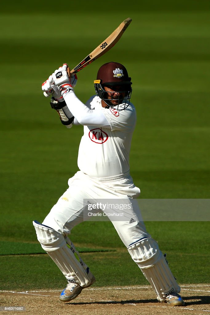 Surrey's Kumar Sangakkara hits out during day two of the Specsavers County Championship Division One match between Surrey and Yorkshire at The Kia Oval on September 13, 2017 in London, England.