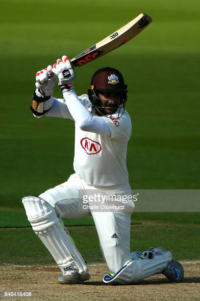 Surrey's Kumar Sangakkara hits out during day two of the Specsavers County Championship Division One match between Surrey and Yorkshire at The Kia...
