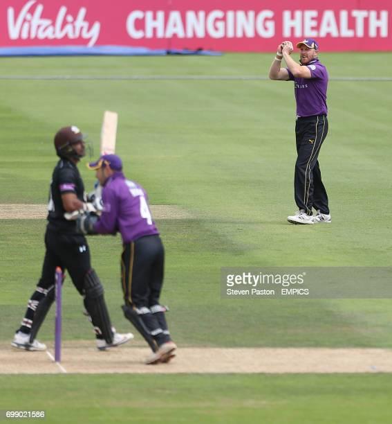 Surrey's Kumar Sangakkara is caught by Yorkshire's Andrew Gale