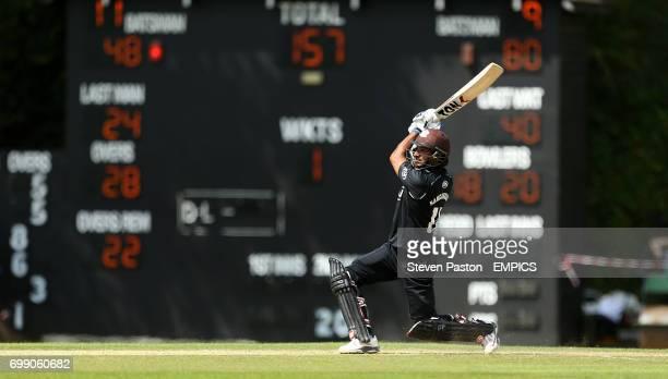 Surrey's Kumar Sangakkara making his 50th run with a 6 against Derbyshire