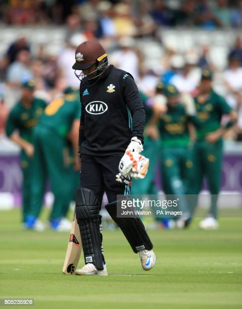 Surrey's Kumar Sangakkara walks off after being dismissed by Nottinghamshire's Steven Mullaney during the One Day Cup Final at Lord's London